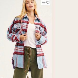 Free People Down for you plaid shirt jacket